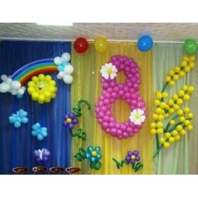 Оформление из шаров на 8 марта