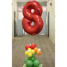 Букет цветов из шаров с цифрой 8